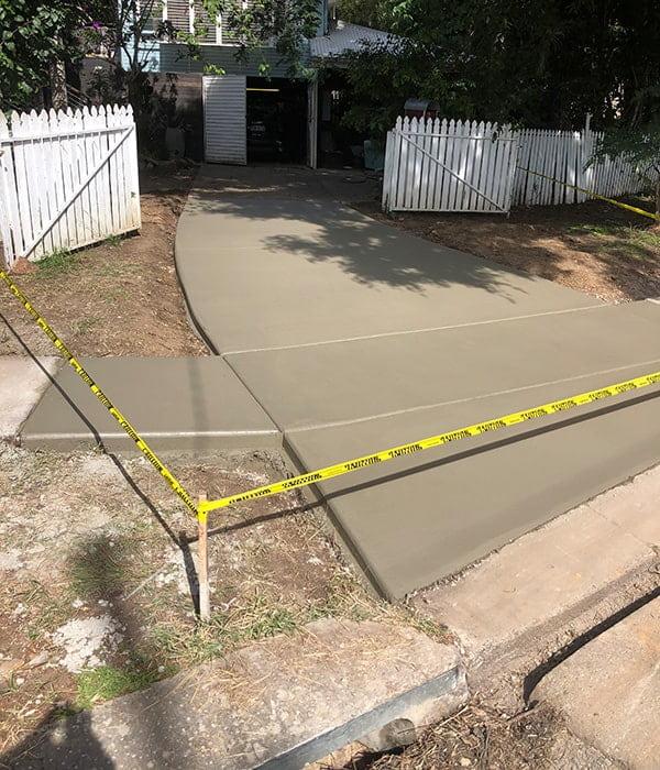 Plain concrete driveway finished