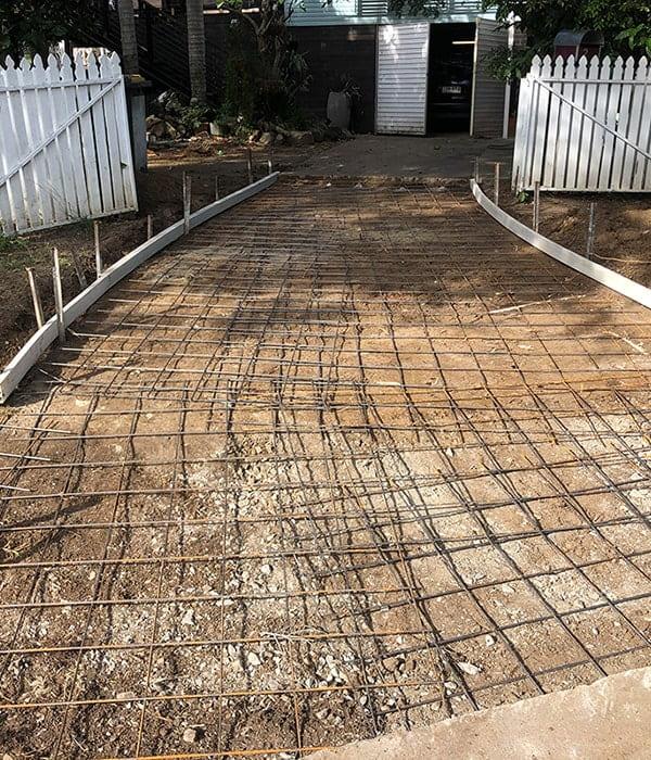 Plain concrete driveway preparation