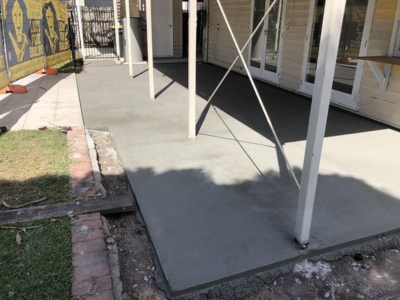 Plain concrete patio slab